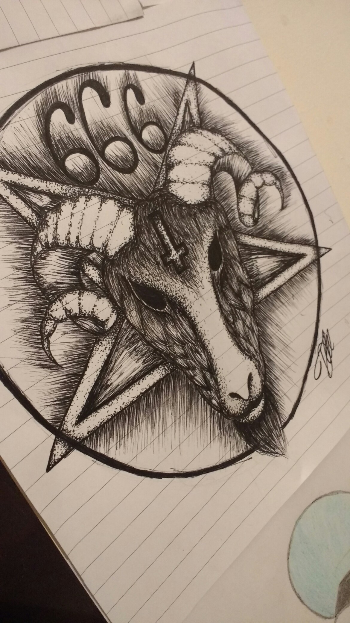 1170x2080 My Drawing Of A Satanic Pentagram With A Rams Head Art