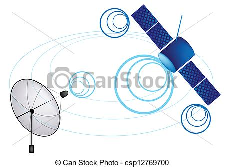 450x335 An Illustration Of Satellite And Satellite Dish . Vector Clipart