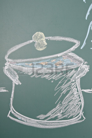 300x450 Chalk Drawing Of Saucepan Stock Photo, Picture And Royalty Free