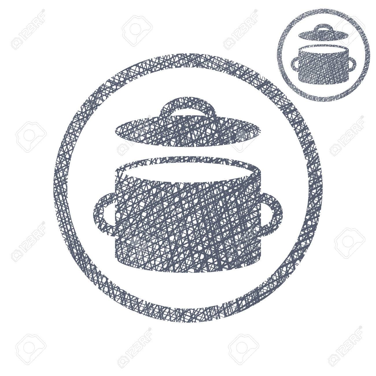 1300x1300 Saucepan Pot Vector Simple Single Color Icon Isolated On White