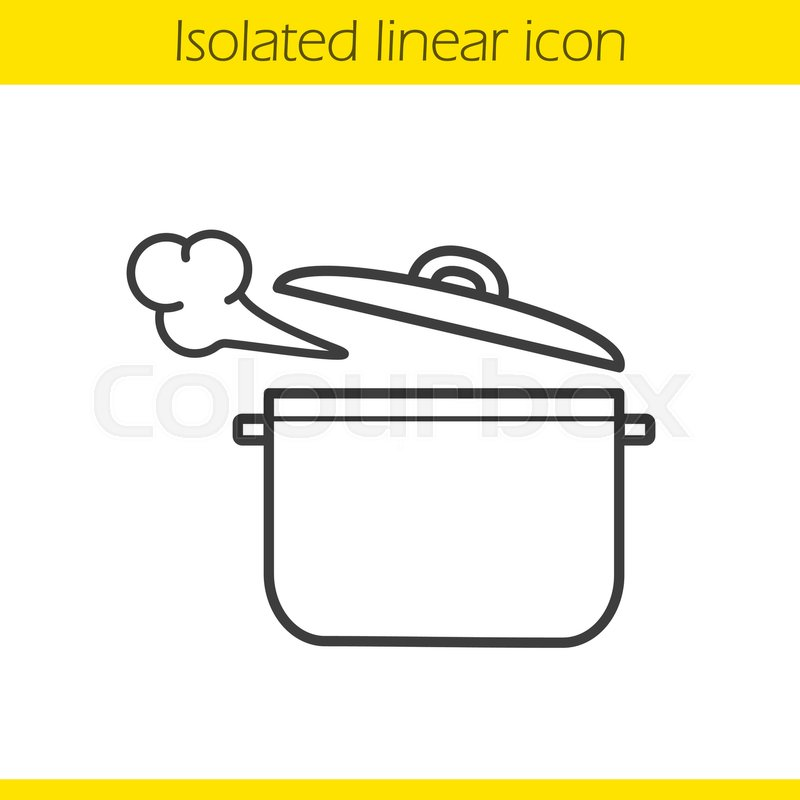 800x800 Steaming Pot Linear Icon. Casserole. Thin Line Illustration