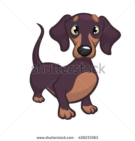 450x470 Cute Sausage Dog Drawing