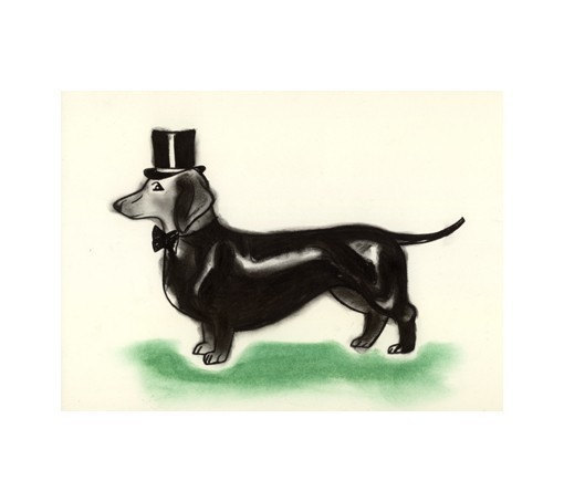 510x454 Dog Art Dachshund Dog Sausage Dog Art Drawing Print Top
