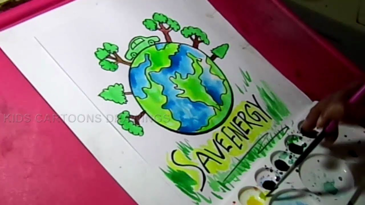 1280x720 How To Draw Save Nature Save Energy Drawing For Kids