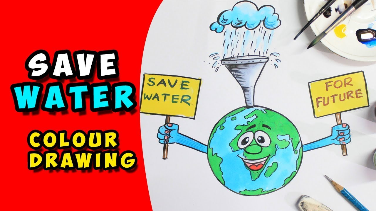 1280x720 How To Make A Poster On  Save Water Drawing For Kids