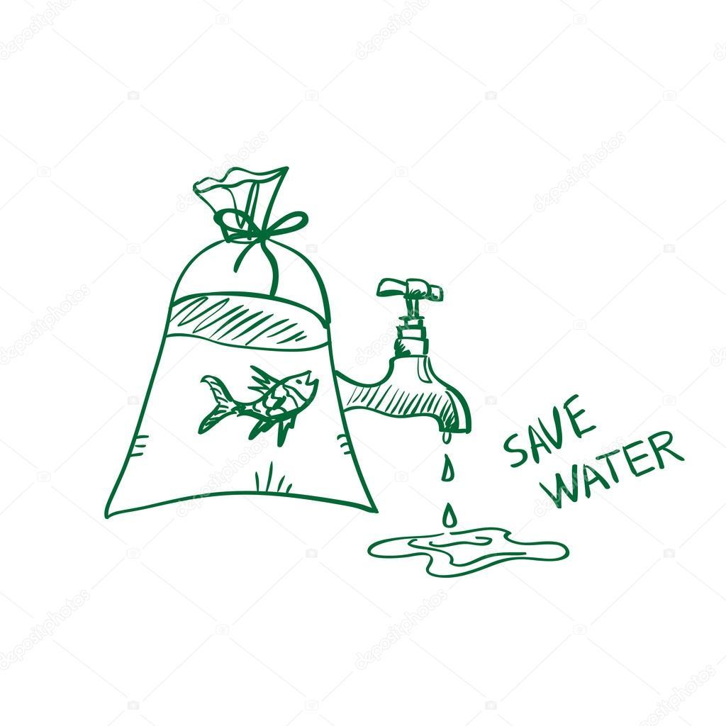 1024x1024 Save Water Drawing Image