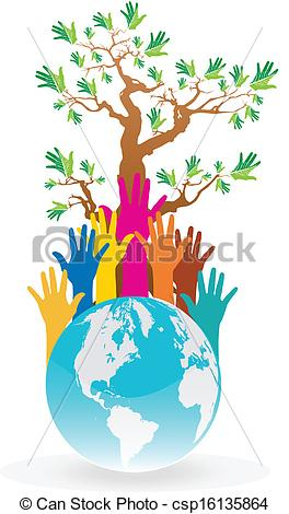 264x470 Save The Earth Tree Idea With Hands Clip Art Vector