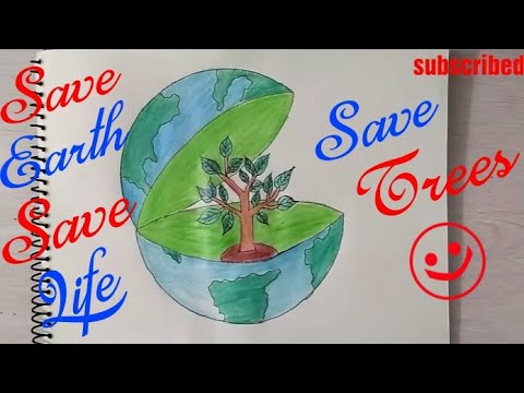 480x360 How To Draw Save Earth Coloring Poster Step By Step Save Trees