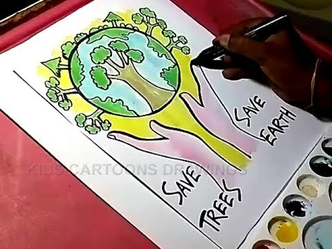 480x360 How To Draw Save Trees And Save Earth Drawing For Kids