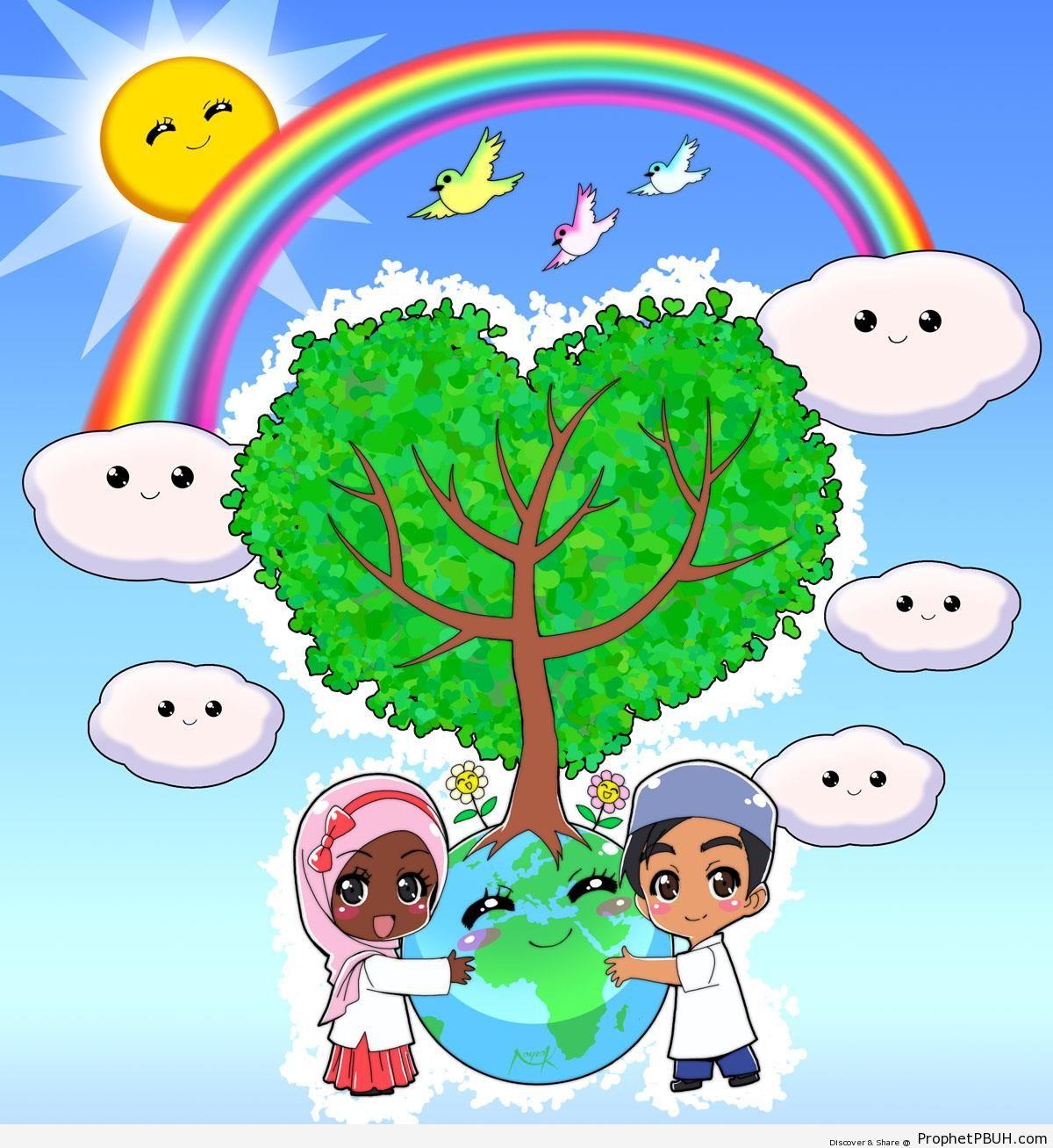 1200x1307 Islam And The Earth Chibi Boy Drawings Prophet Pbuh (Peace Be