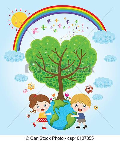 401x470 Kids Hugging Earth Clipart Vector