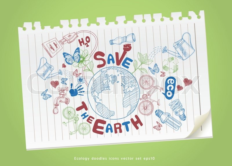 800x572 Save The Earth Concept Drawing On Paper. Ecology Doodles Icons