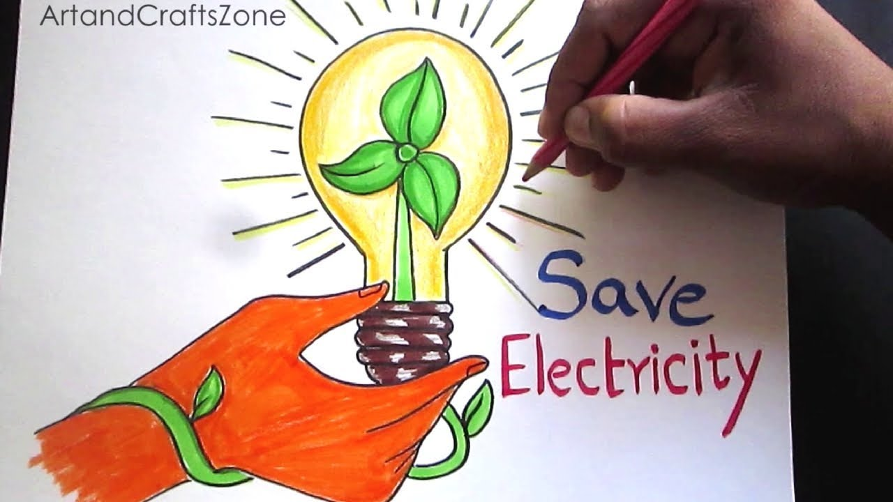 1280x720 How To Draw Save Electricity Save Energy Drawing For Kids Step