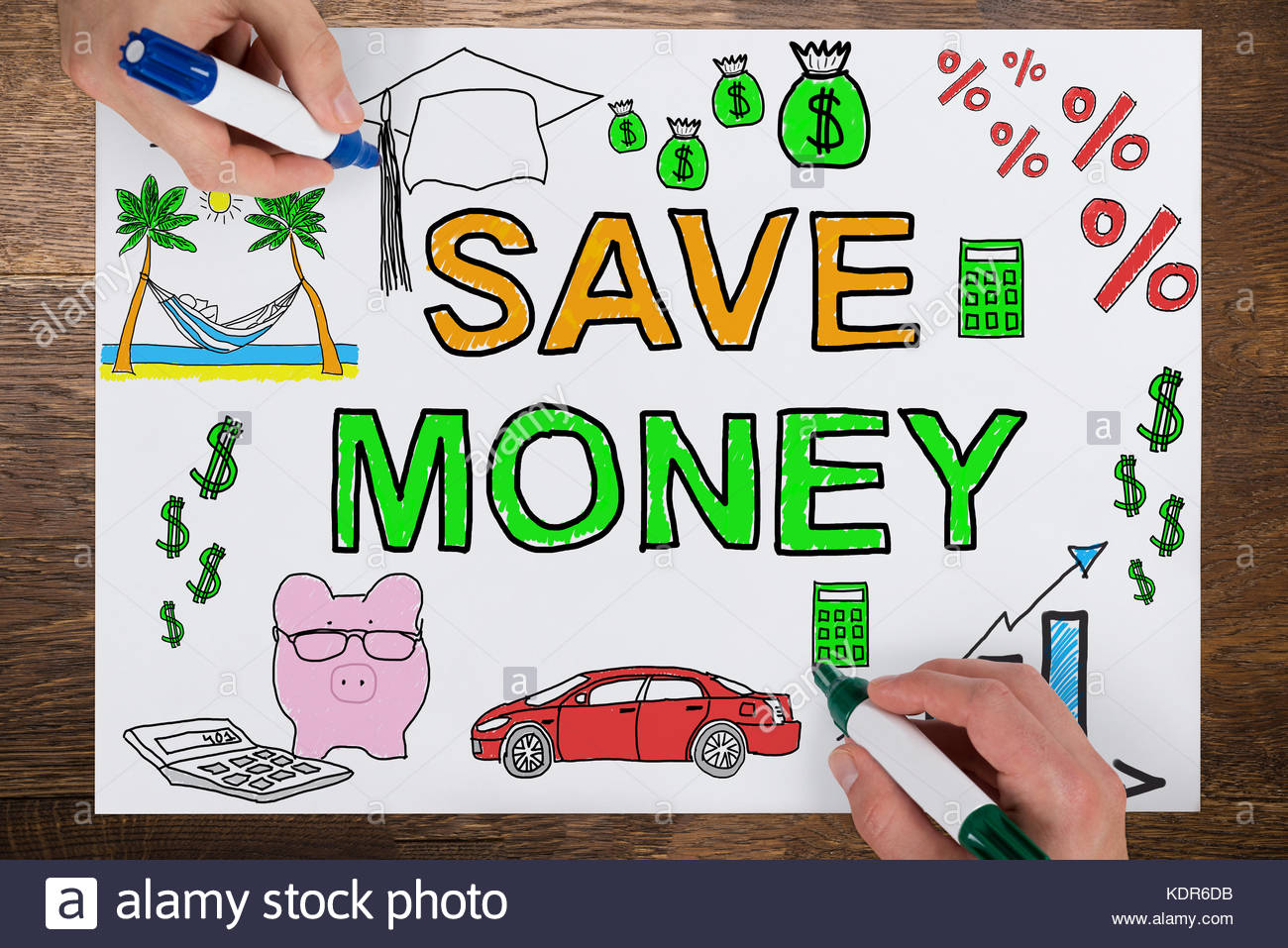 1300x957 Close Up Of Two Businesspeople Drawing Save Money Concept On White