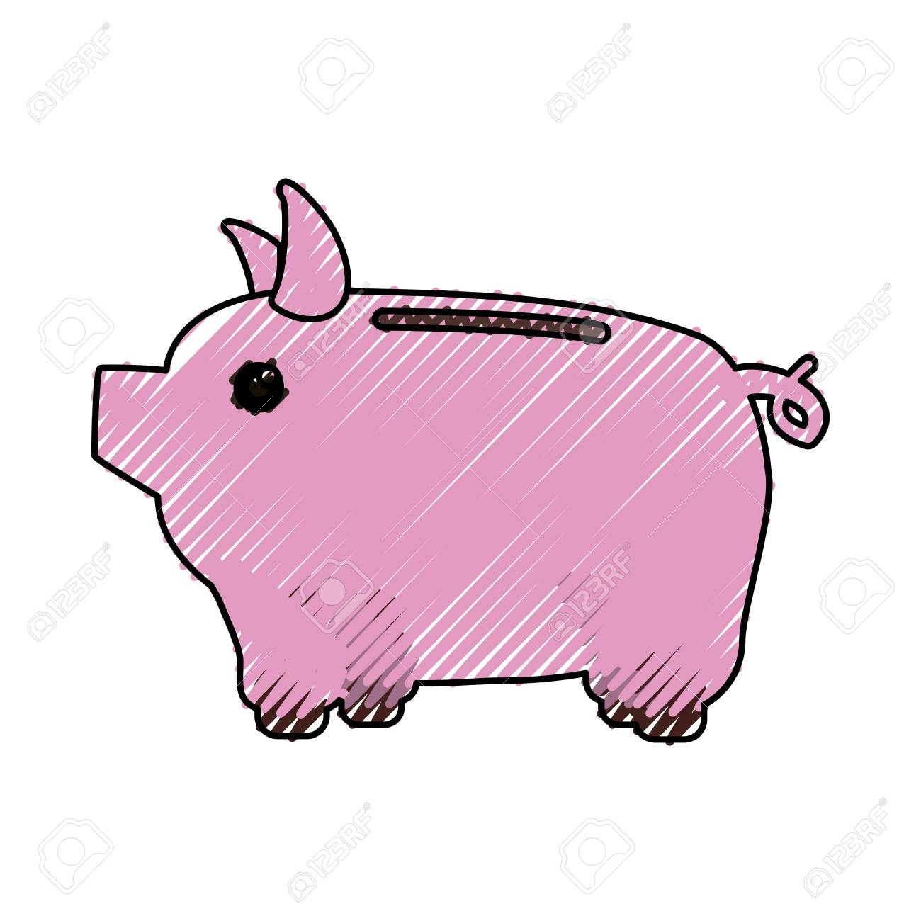 1300x1300 Save Money Inside Pig In The Home, Vector Illustration Royalty