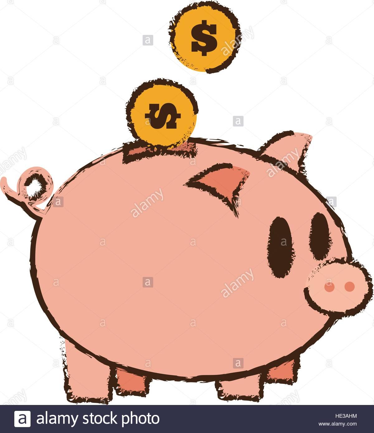 1201x1390 Drawing Save Money Piggy Coins Bank Stock Vector Art