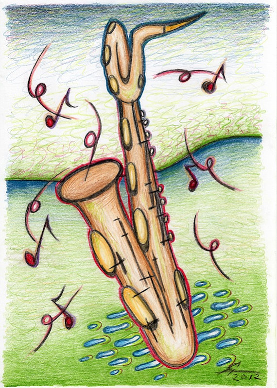 570x799 Post Card With Saxophone Drawing, Baritone Sax Card, Musical