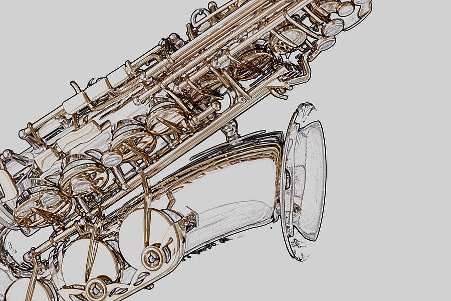 900x600 Saxophone Photo Drawing Photograph By M K Miller