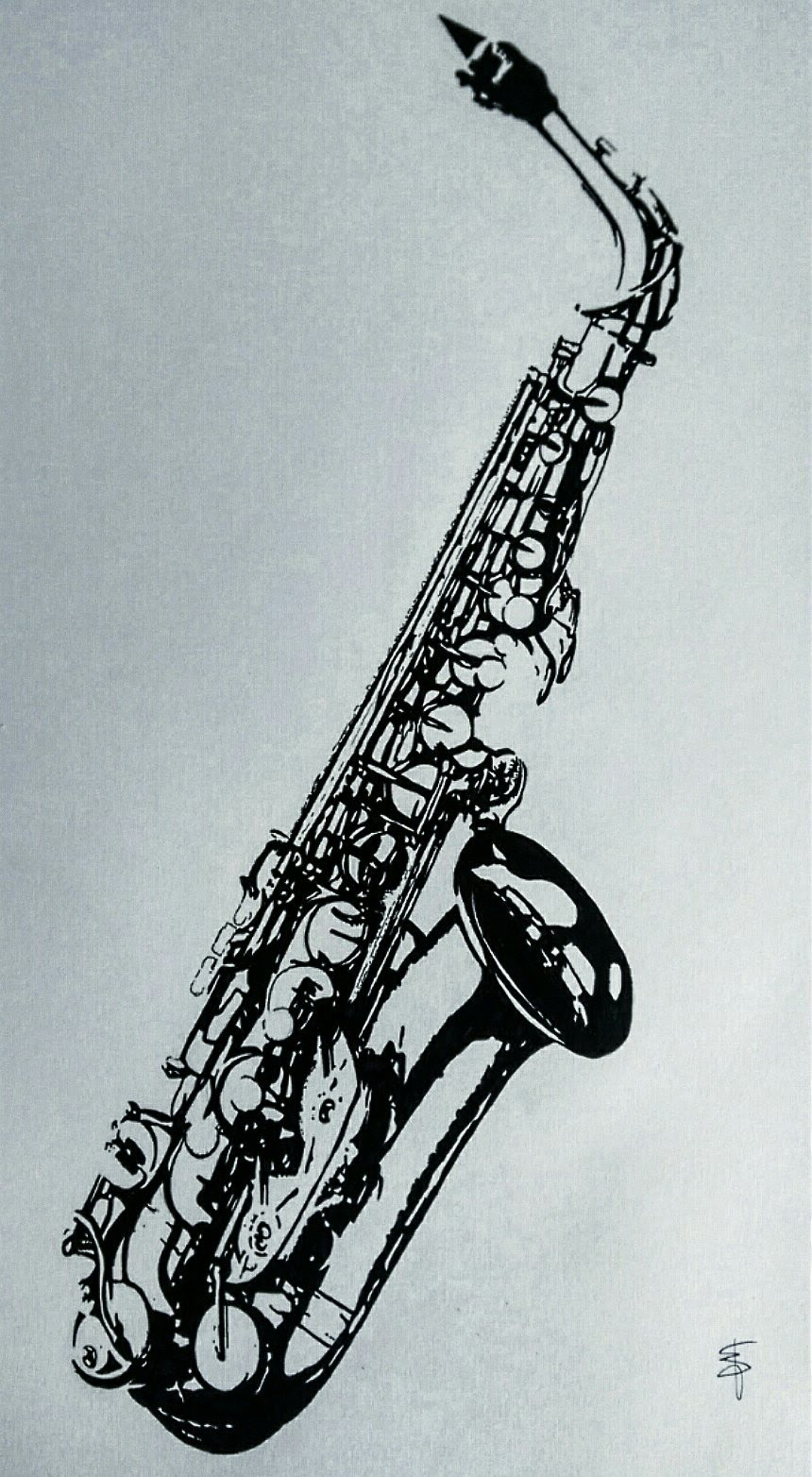 860x1564 Speed Drawing Alto Saxophone