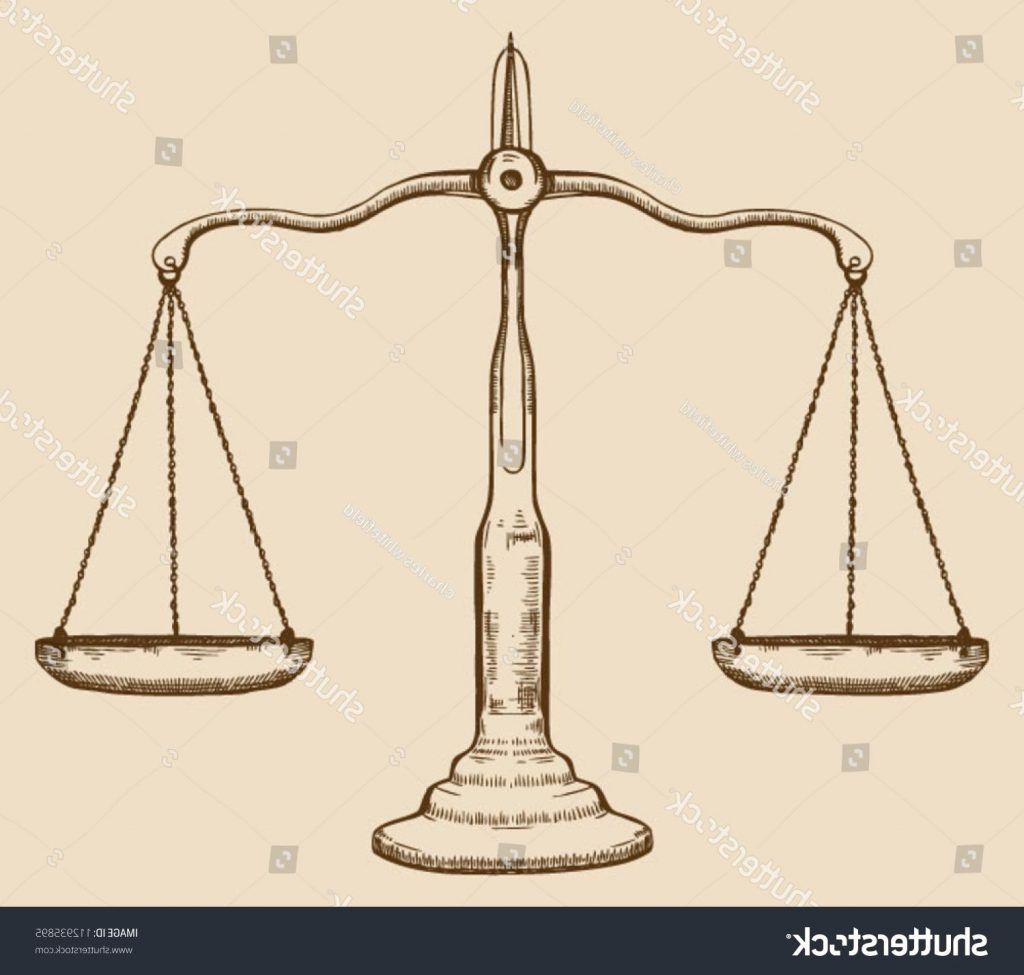 1024x975 Hd Stock Vector Symbol Of Justice Draw Scale Old Vintage Drawing