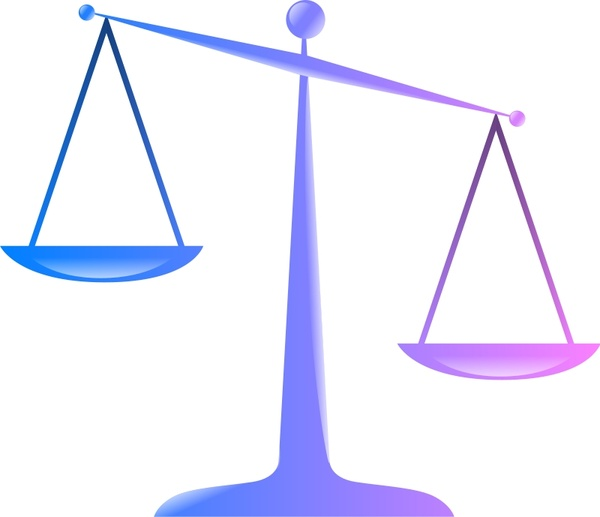 600x517 Scales Of Justice (Colored Glassy Effect Derivative) Free Vector