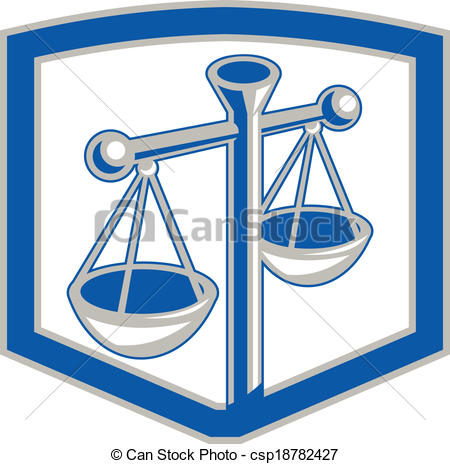 450x464 Scales Of Justice Shield Retro. Illustration Of Weighing Vector