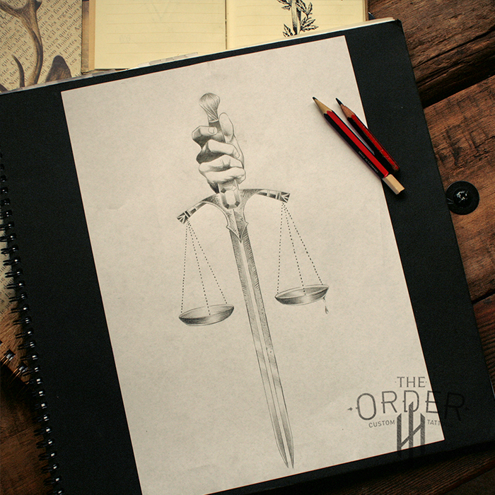 700x700 Sword With Justice Scales Drawing Sketch