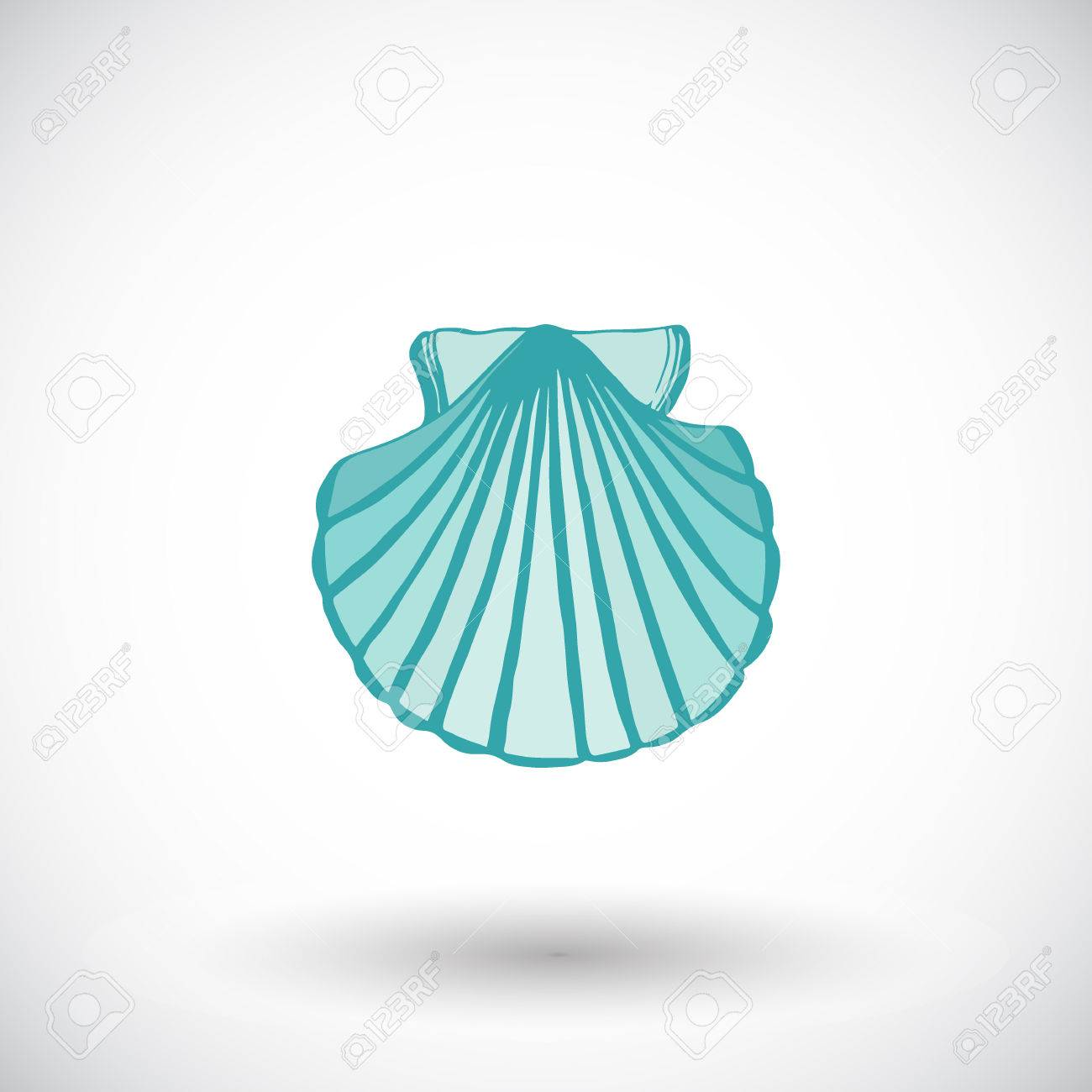 1300x1300 Scallop Shell Sketch. Hand Drawn Sea Or Ocean Life Cartoon Icon