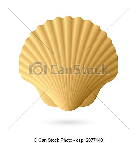450x470 Scallop Seashell. Vector Illustration Eps Vector