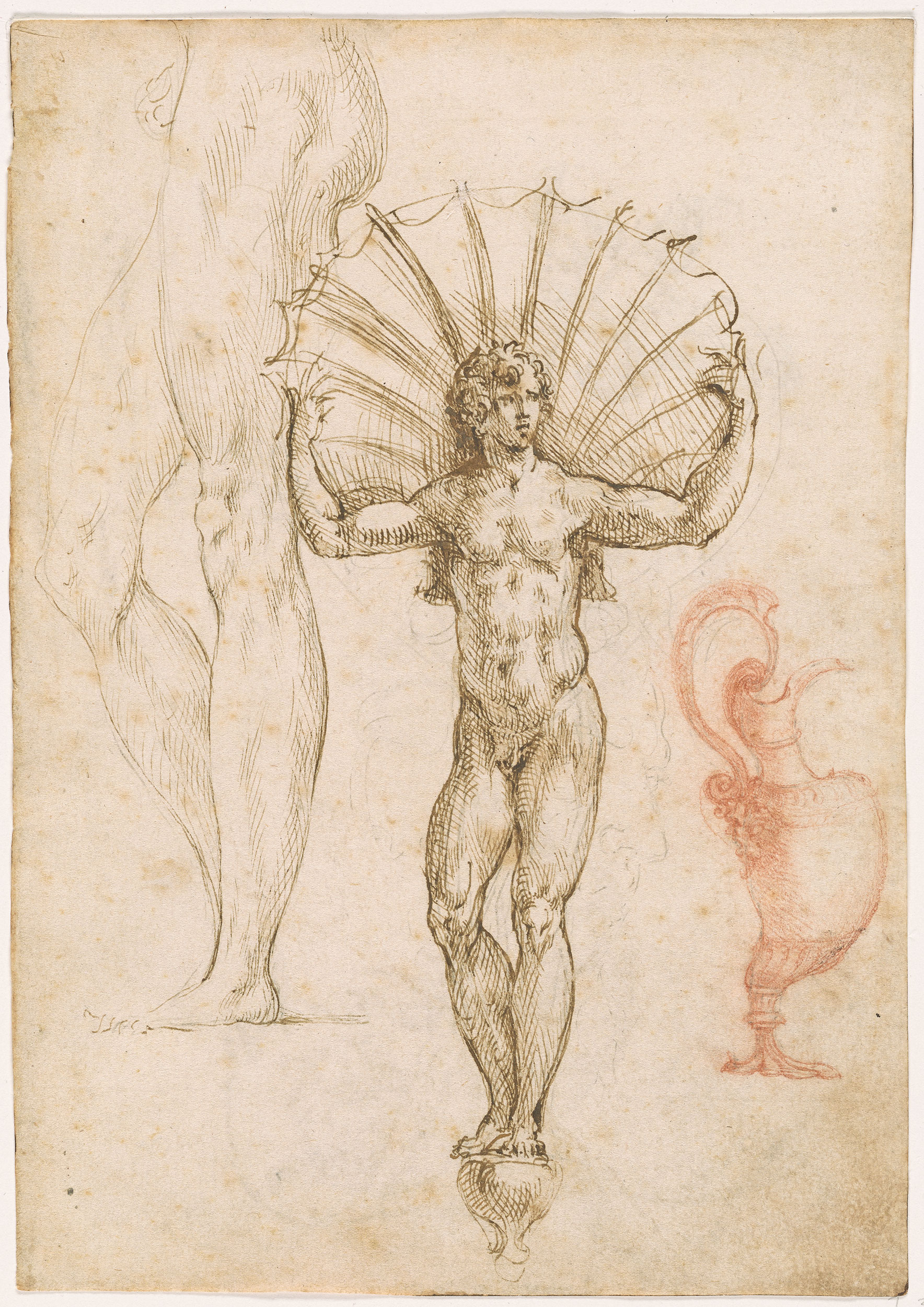 1768x2500 School Of Benvenuto Cellini Design For A Dish Standing Male