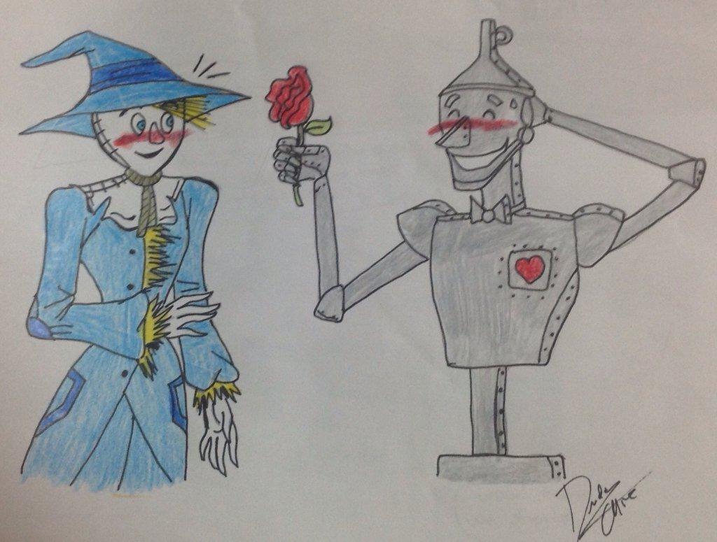 1024x775 Tin Man X Scarecrow Drawing By Dudamietlicki