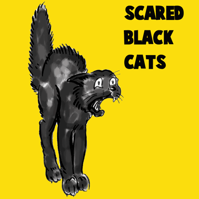 400x400 How To Draw A Scary Scared Black Cat With Easy Steps Lesson