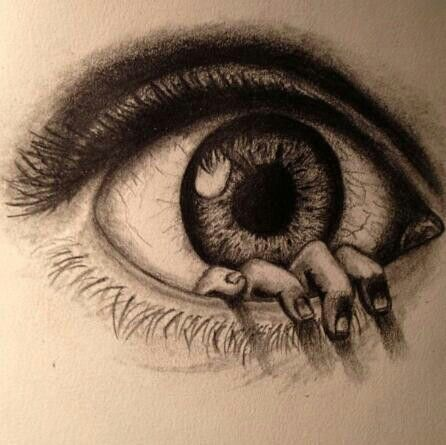 446x445 Incredibly Drawn Eye With A Hand Coming Out Of It. Smarty Arty