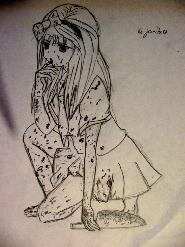 768x1024 Anime Scary Drawing Scary Anime Girl Painhidanfan