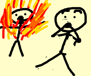 300x250 Man Is Scared By Person On Fire