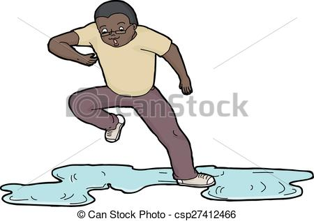 450x317 Person Slipping On Puddle. Isolated Cartoon Of Scared Man Clip