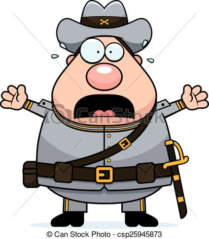 412x470 Scared Cartoon Confederate Soldier. A Cartoon Illustration