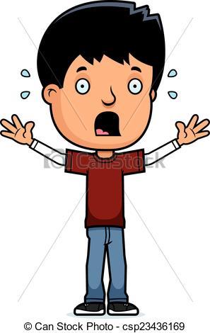 297x470 Scared Teen Boy. A Cartoon Illustration Of A Teenage Boy Clip
