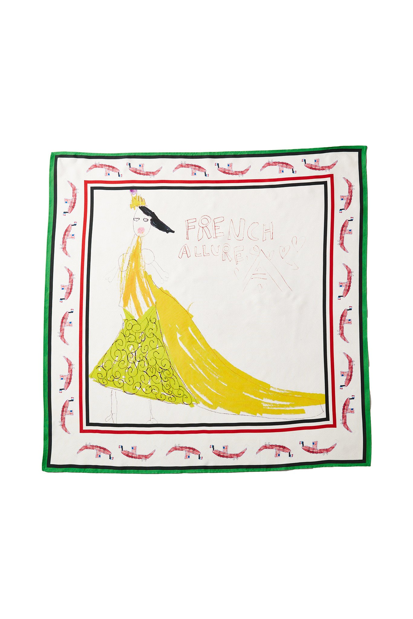 1366x2048 100% Silk Square Scarf With Authentic Drawing