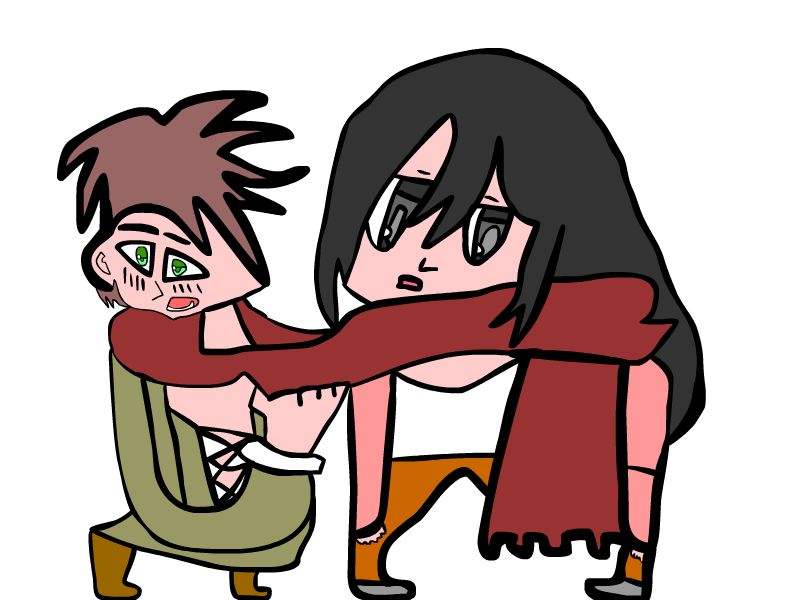 800x600 Eren And Mikasa Share There Scarf By Microlad