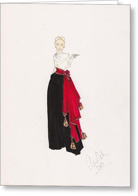455x646 Fashion Drawing Red Scarf Dress Drawing By Alex Newton