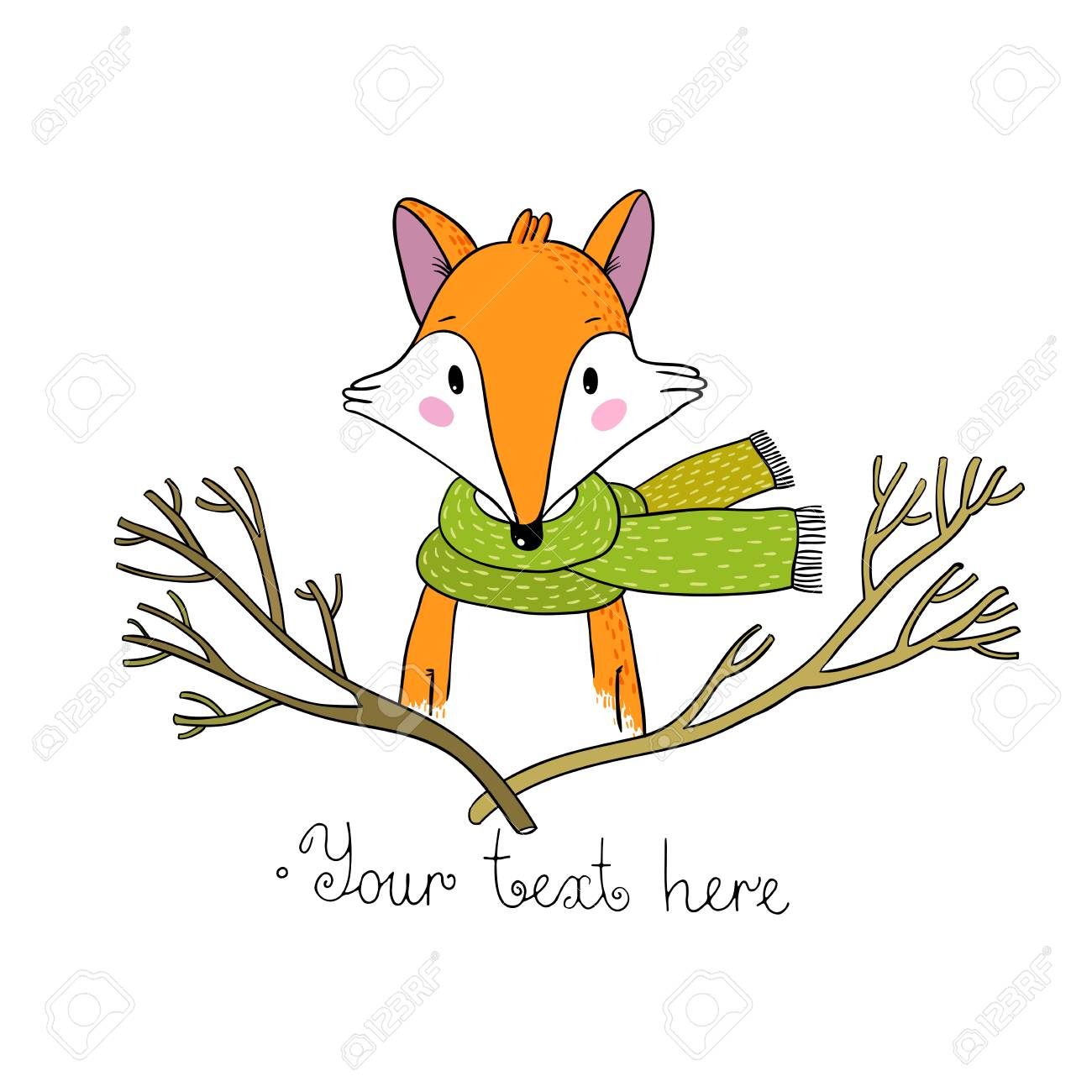 1300x1300 Portrait Of A Fox In A Scarf And Branches. Hand Drawing Isolated