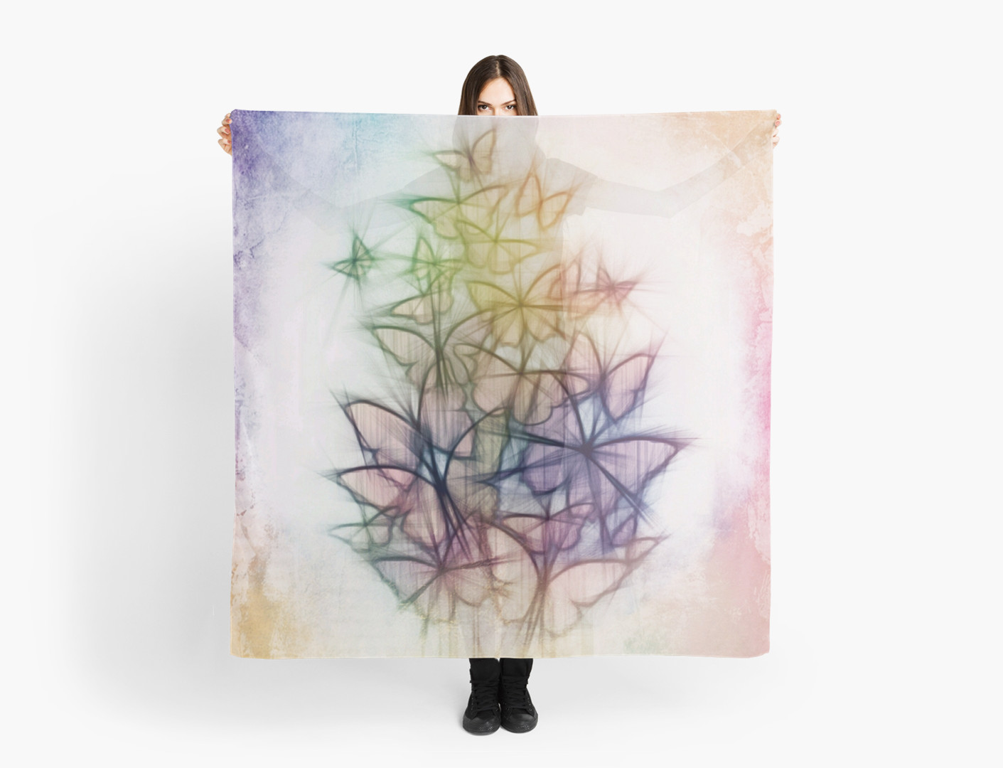 1411x1080 Rainbow Colored Butterfly Sketch Drawing Scarves By Alondra