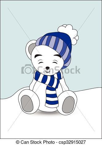 332x470 Wnite Teddy Bear In A Cap And A Scarf. Lovely Polar Teddy