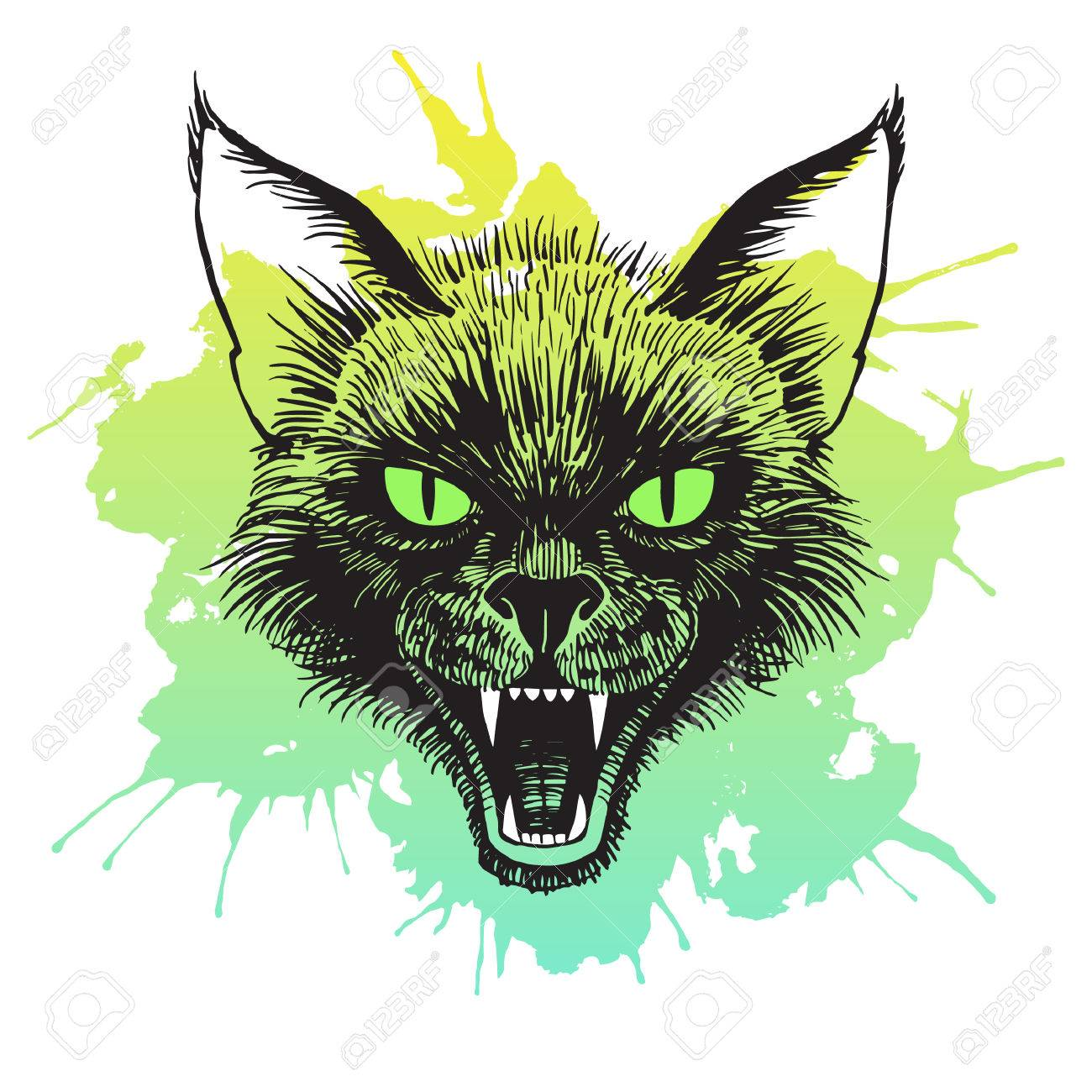 1300x1300 Cat's Head Illustration. Scary Black Cat With Open Mouth
