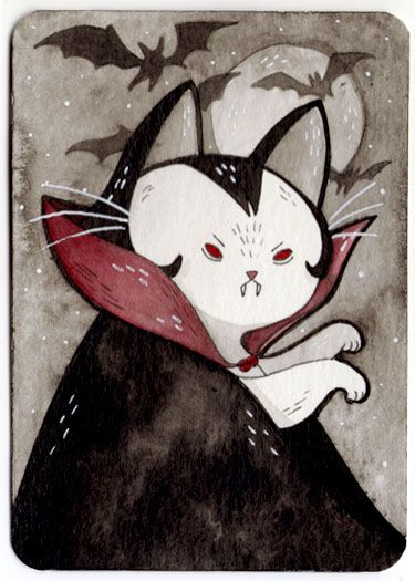 375x525 Daily Scary Cat Drawings During October. Art Scary