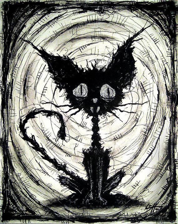 570x716 Print 8x10 Black Cat 2 Halloween Cats Stray Spooky