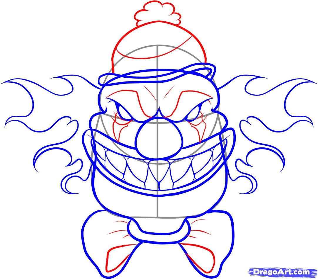 1082x952 How To Draw A Evil Clown Face Step By Step