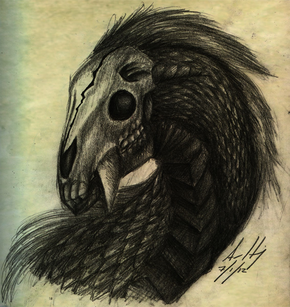 567x600 Realistic Skulled Horse Dragon Sketch By Lostsoul Mumei