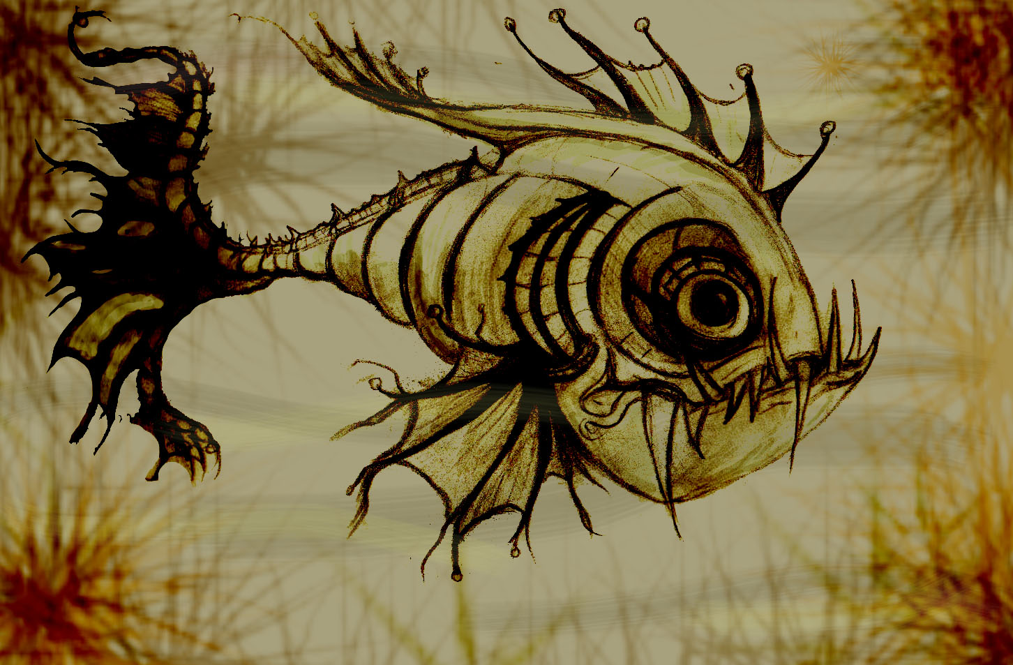 Scary Fish Drawing at GetDrawings | Free download